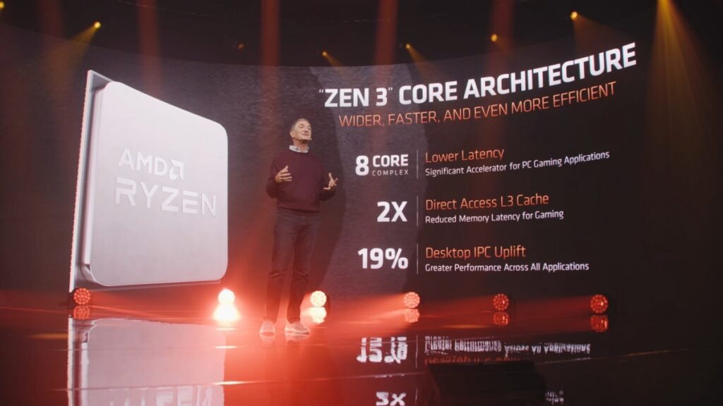AMD CTO Mark Papermaster showing an overview of the Zen 3 Architecture