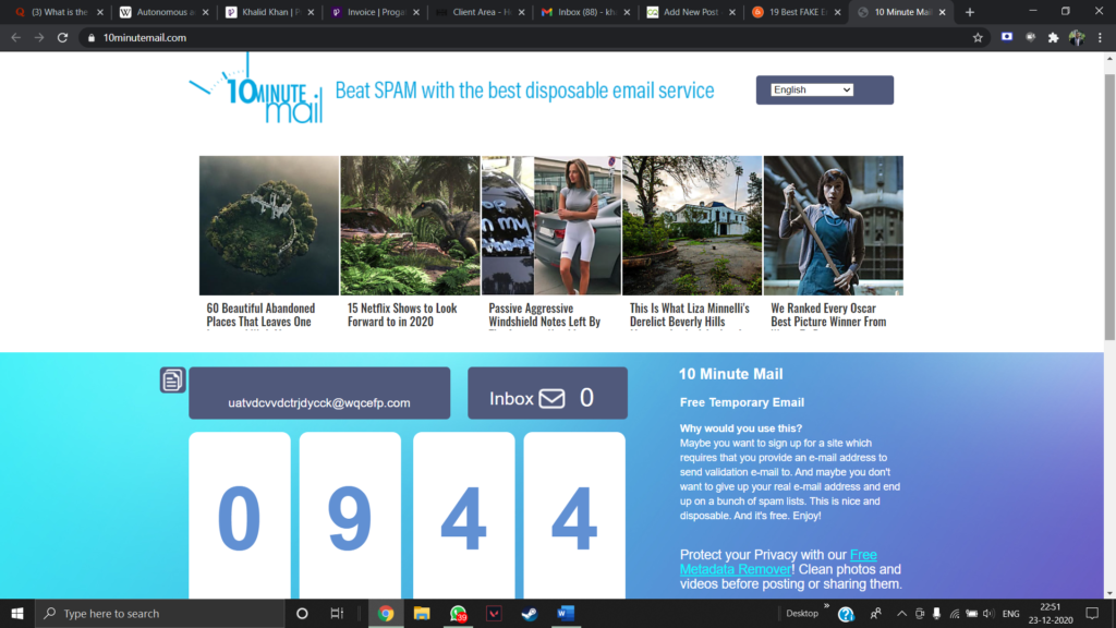 10 MInute Mail Home Page