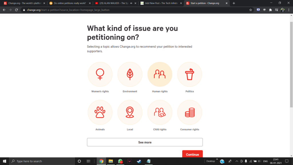 Change.org website